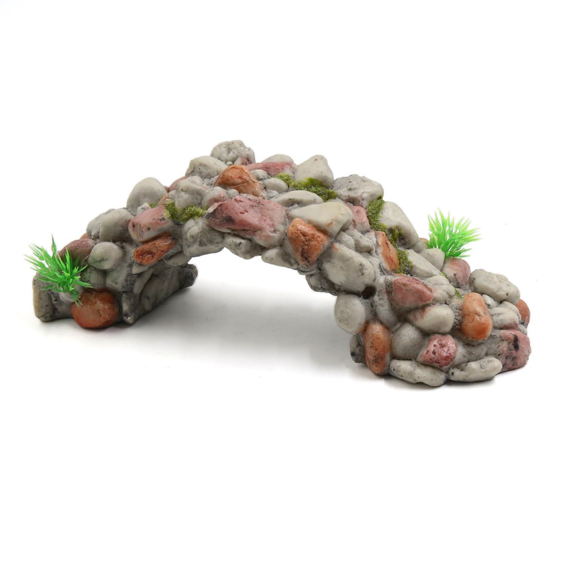 uxcell Resin Stone Bridge Fish Tank Aquarium Landscape Decor Underwater Ornament White
