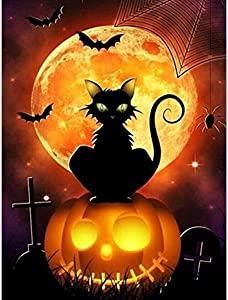 DIY 5D Diamond Painting Kits for Adults Full Drill Diamond Painting Halloween Pumpkin Lanter Cat for Home Wall Decor 30x40cm