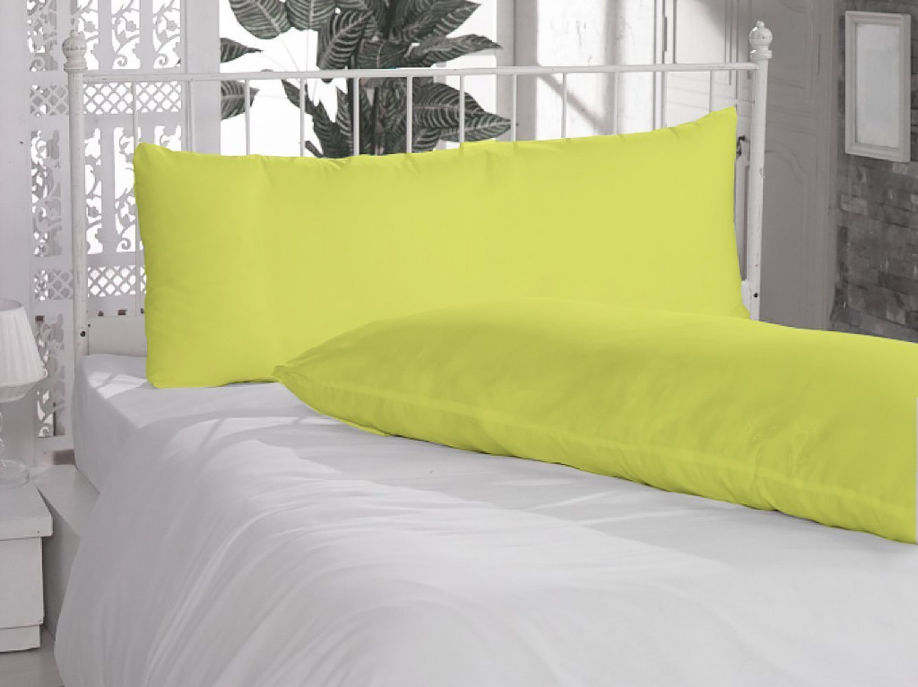 Prince Lionheart Inc Solid Pattern 800 Thread Count 100% Egyptian Cotton One Pair Body Pillow Cover (Bodypillow cases 20'' x 54'', Yellow)