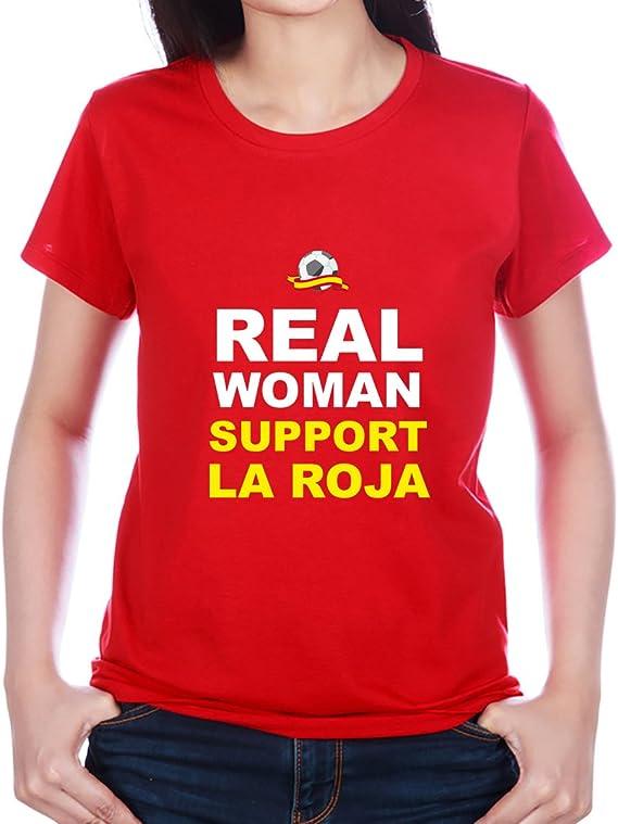 Camiseta Divertida Real Woman Suport La Roja (Rojo, XL): Amazon.es: Ropa y accesorios