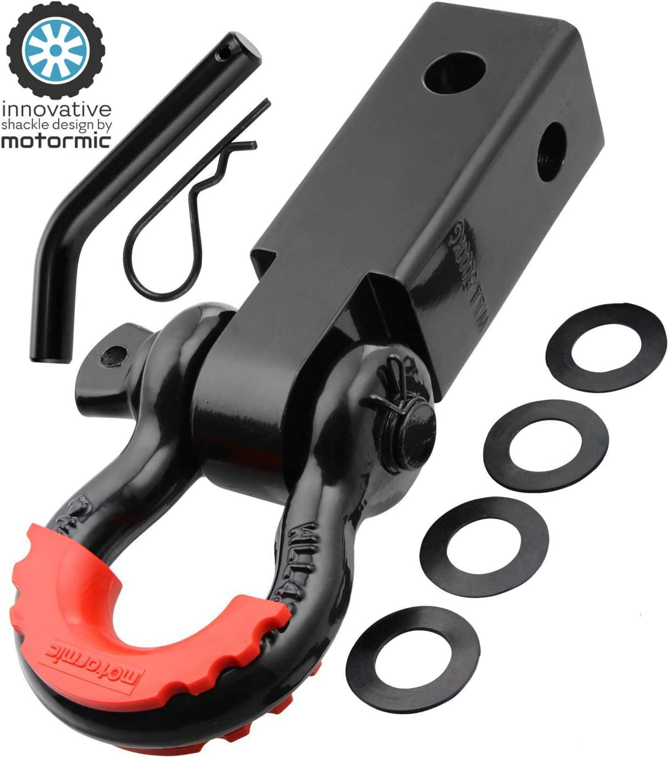 EAG Shackle Hitch Reciever D-Ring with Black 3//4 inch Shackle for 2 inch Receivers Includes Red D-Ring Isolators and Hitch Pin