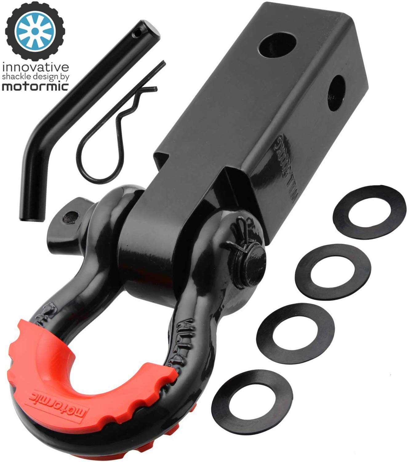 """motormic Unique Shackle Hitch Receiver 2"""" (35,000 lbs Max Capacity) with 3/4"""" D Ring and 7/8"""" Screw Pin Safety Ring - Includes 1 Black Bent Pin, 4 Rubber Washers and 1 Red Isolator"""