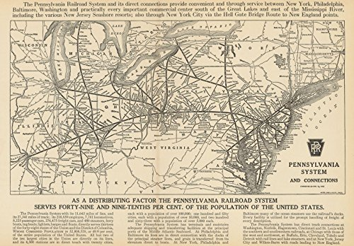 (Historic Pictoric Map | Atlas of Railway Traffic Maps, Pennsylvania Railroad System 1922 | Vintage Poster Art Reproduction | 24in x 18in)