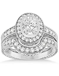 Vintage Diamond Engagement Ring and Band Palladium Bridal Set 0.64ct (No center stone included)