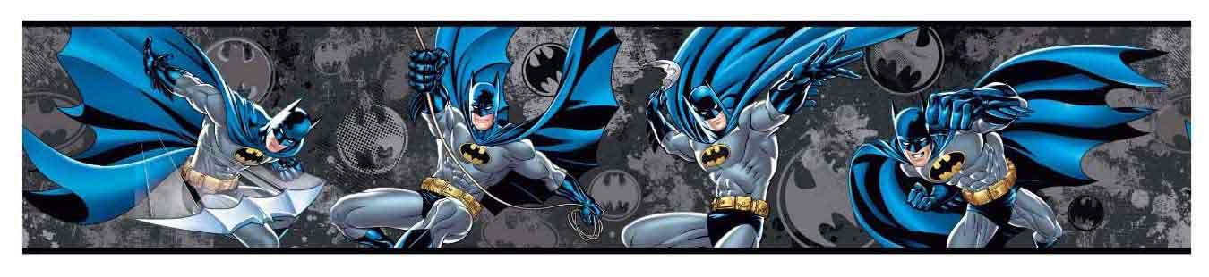 York Wallcoverings ZB3290BD Batman Border, Silver Metallic/Gray/Black/Bright Blue/Gold/Charcoal