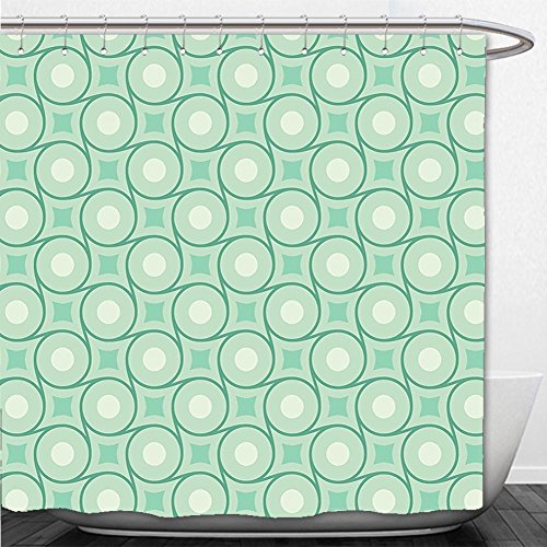 Beshowere Shower Curtain Mint Circles and Dots Linked with Lines Wavy Squares Geometric Retro Style Mint Emerald Almond - Emerald Square Macy's