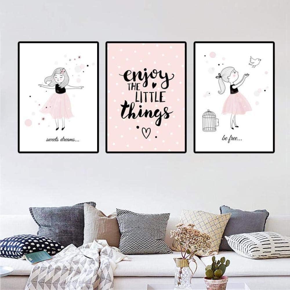 dtrfhyhome Nordic Cartoon Rose Oiseau pour Filles Enfants Peinture /à lhuile Tableau Mural pour Le Salon D/écoration de Salon sans Cadre 1 20 x 25 cm