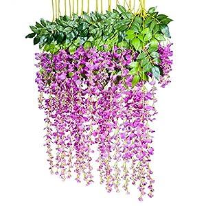 Povkeever Artificial Wisteria Vine Flower, Silk Hanging Flower Wedding Home Decoration, 3.2 Feet 6 Pieces (Mulberry) 2