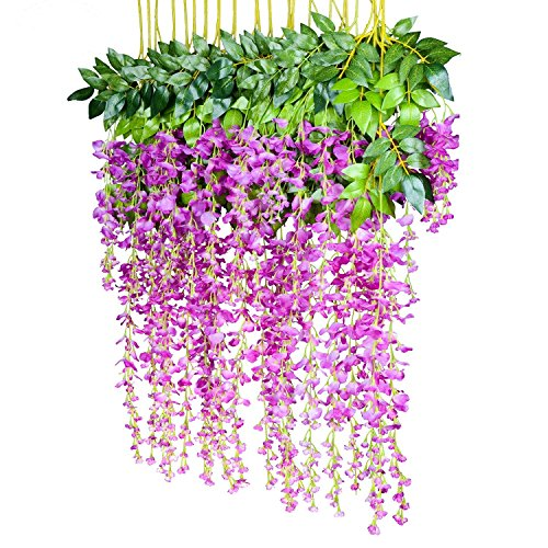 Povkeever Artificial Wisteria Vine Flower, Silk Hanging Flower Wedding Home Decoration, 3.2 Feet 6 Pieces (Mulberry)