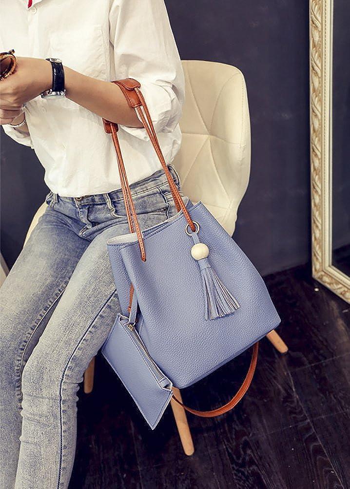 QZUnique Womens PU Leather Crossbody Bag Bucket Handbag Shoulder Bag Tassel Tote Bags