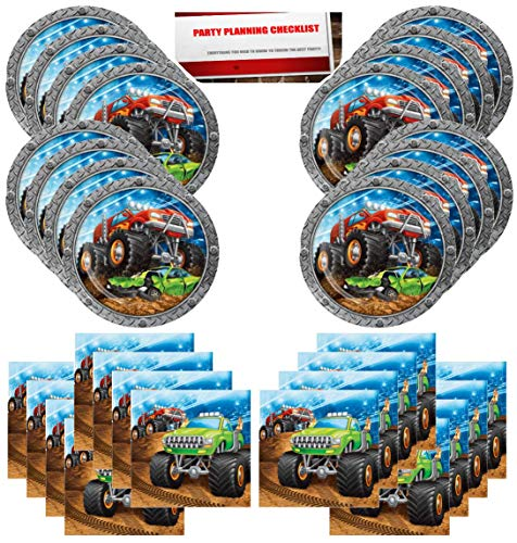 Monster Truck Rally Birthday Party Supplies Bundle Pack for 16 Guests (Plus Party Planning Checklist by Mikes Super Store)]()