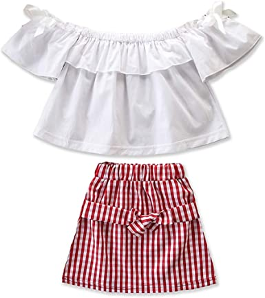 1-6T Girls Off Shoulder Shirt Ruffle Top Plaid Skirt Bowknot Fashion Clothes