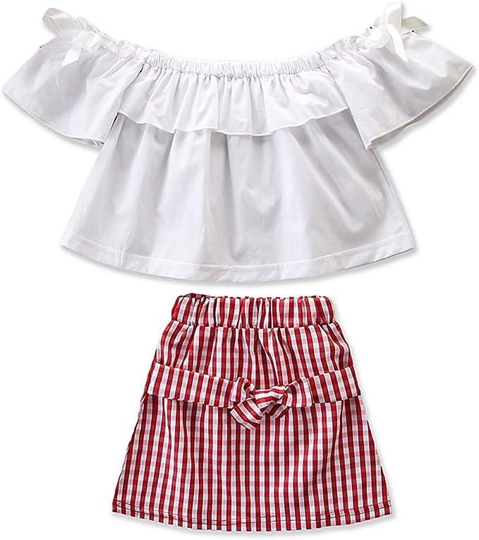 Tianhaik Conjunto de Ropa Informal para niñas con Camiseta y Falda ...