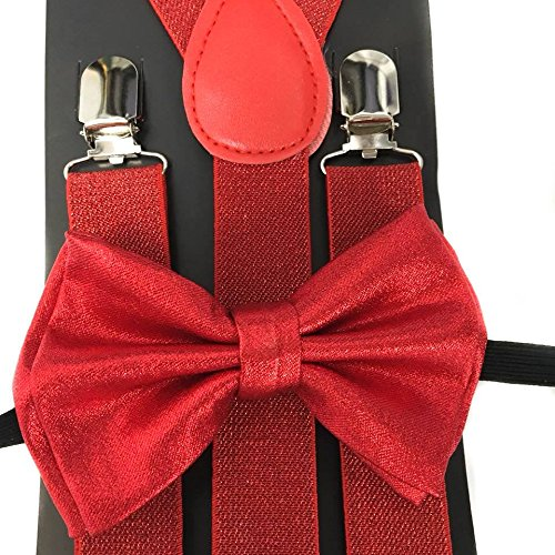 4everStore Unisex's Bow tie & Suspender Sets (Metallic Red)