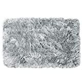 Ojia Deluxe Soft Modern Faux Sheepskin Shaggy Area Rugs Children Play Carpet for Living & Bedroom Sofa (3ft x 5ft, Grey)
