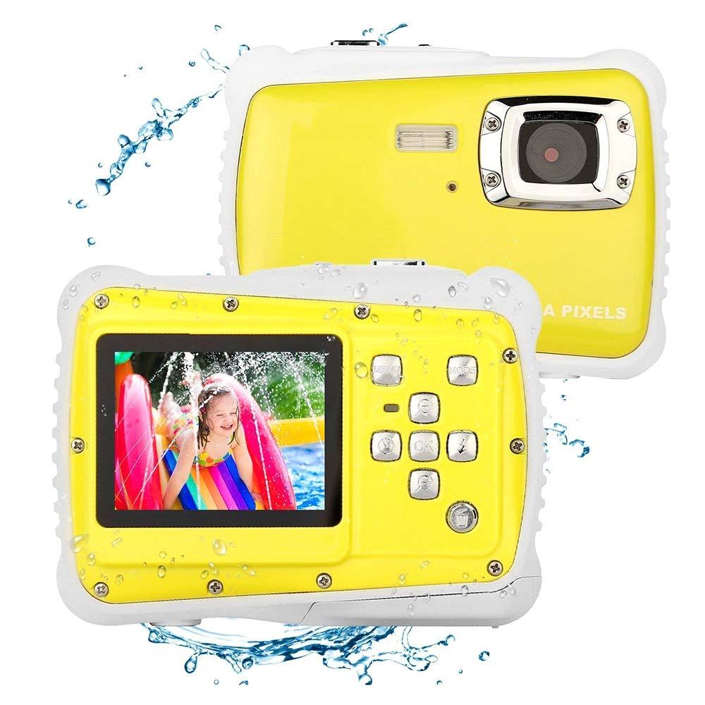 SHENGY wasserdichte Digitalkamera der Kinder, 12MP HD Unterwassersportkamera, 4X digitaler Zoom, 2-Zoll-LCD-Anzeige, Kinder-Sommer Yellow