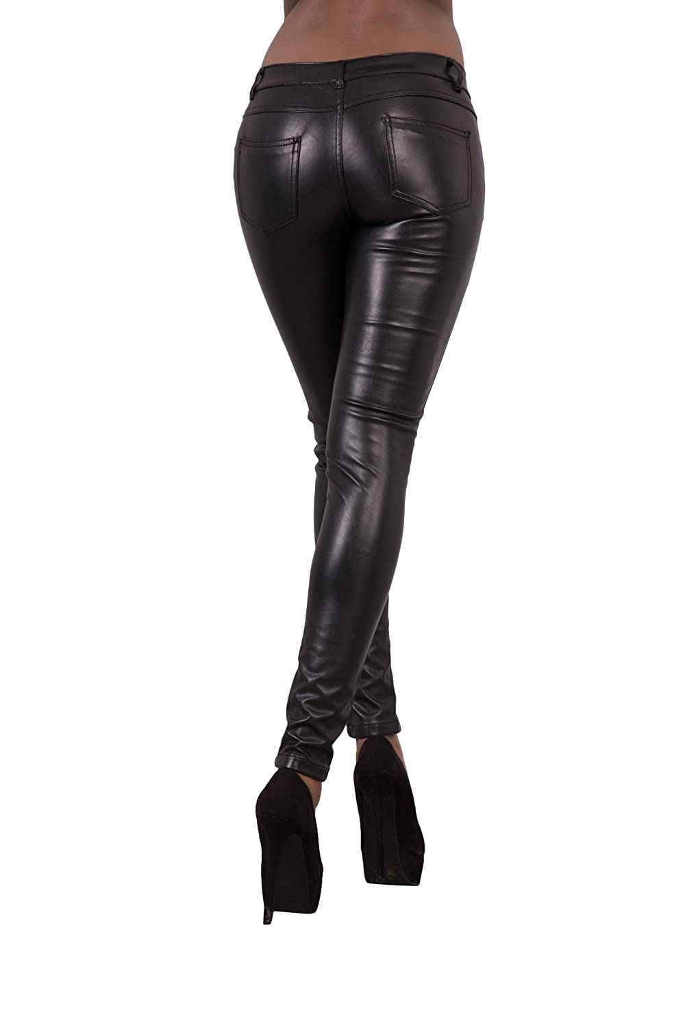 94379e4f1d50 LustyChic Womens Leather Look Trousers Slim Fit Ladies Stretch Skinny Jeans  Size UK 8-16  Amazon.co.uk  Clothing