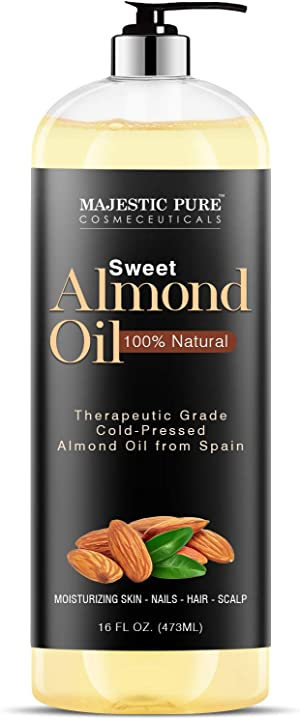 Majestic Pure Sweet Almond Oil, Triple A Grade Quality, Pure and Natural from Spain, Cold Pressed, (Packaging May Vary) - 16 fl. oz.