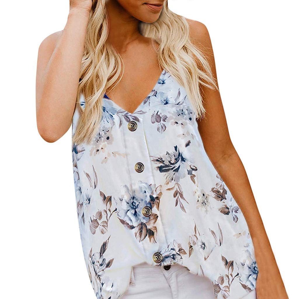 Women Sleeveless Blouse Summer Button Down Casual V Neck Tank Top Floral Print Shirt (S, White)