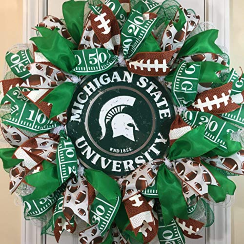 Michigan State Spartan Wreath for front door with deco mesh & ribbon, MSU, 26