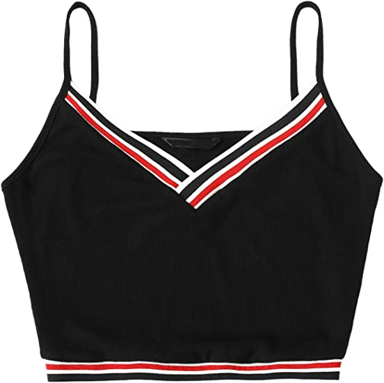 Kids Girls Ribbed Knitted High Neck Strappy Sleeveless Contrast Stripes Crop Top