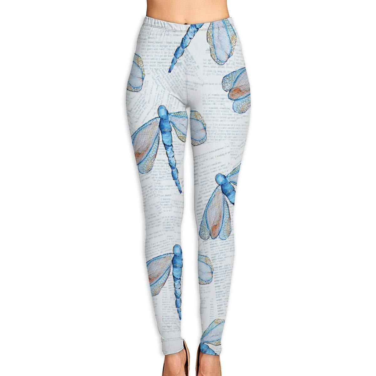CVDGSAD Womens Power Yoga Pants Dragonfly Pattern Full ...