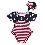 2pcs Newborn Baby Boy Girl USA Flag Pattern Tassel