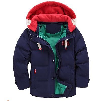Children Boys Winter Duck Down Thick Hooded Parka Outwear Puffer Jacket