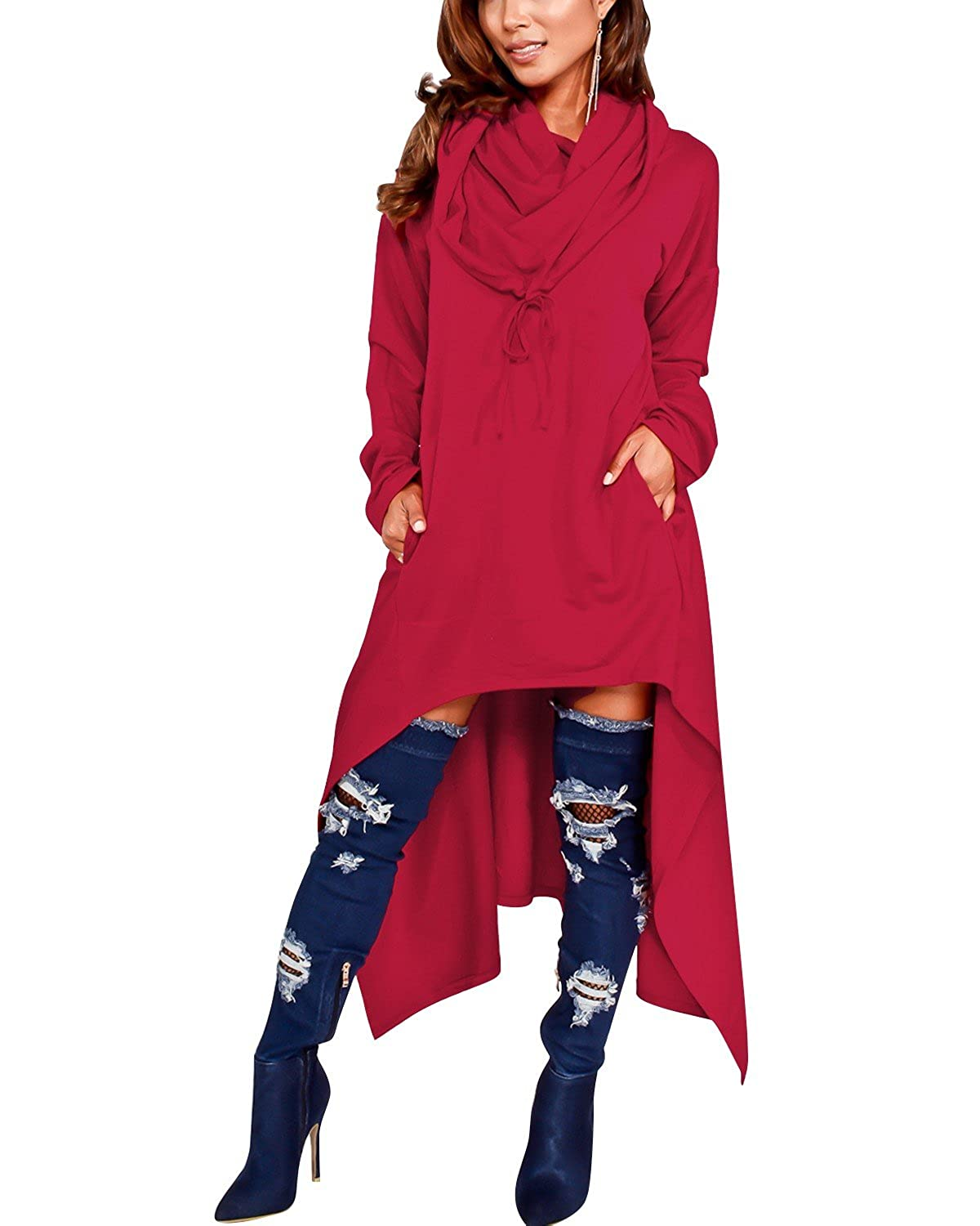 GIKING Women\'s Plus Size Hoodies Dress with Pockets Loose Fit Pullover  Sweatshirt Dress