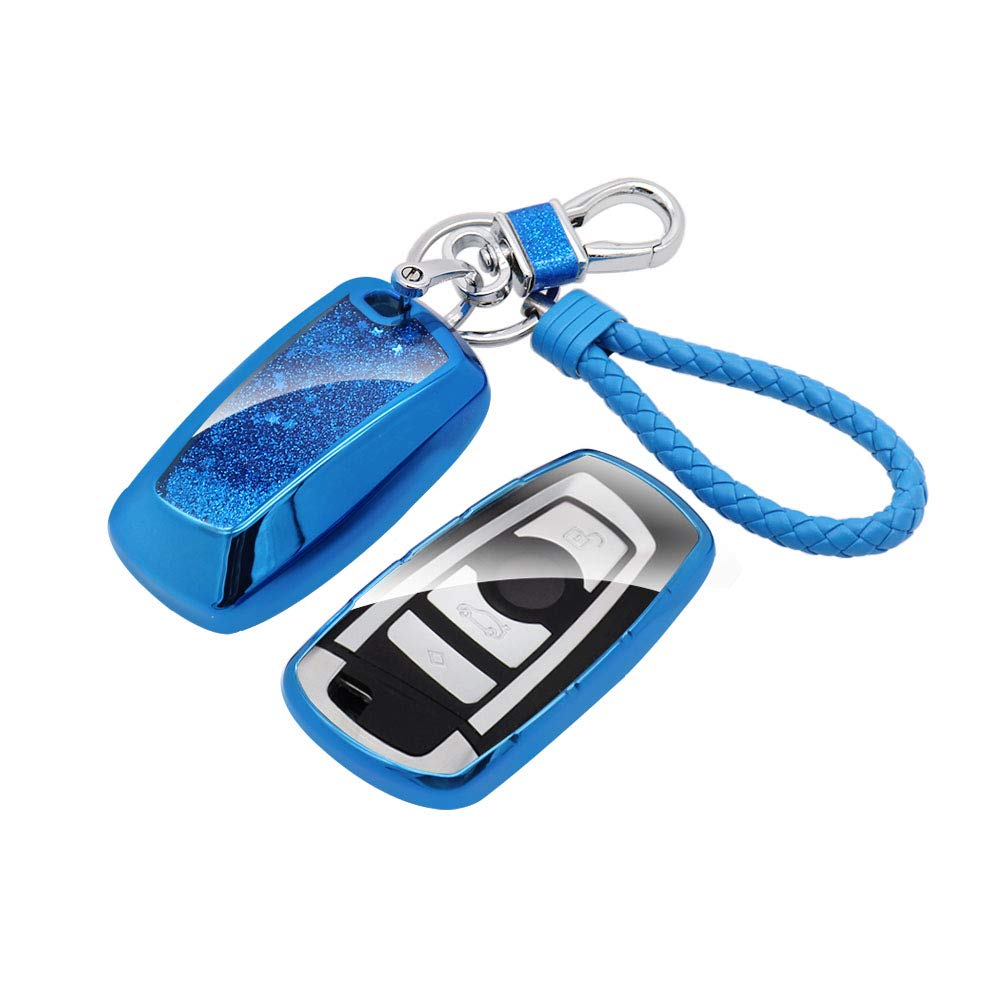 Senauto Car Key Fob Cover Fit for BMW,Full-Body Protective Sparkling Quicksand Key Case with Keychain Key Ring Compatible with BMW 1 3 4 5 6 7 Series X3 X4 M5 M6 GT3 GT5 (Blue) by Senauto