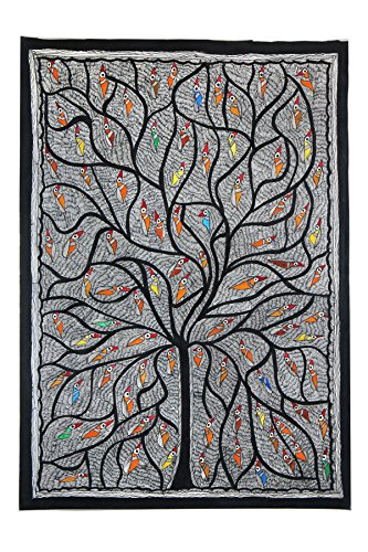 Exclusive Nesting Tree Madhubani Wall Hanging Handmade Authentic Painting by Artist from Bihar