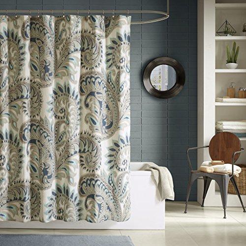 Ink+Ivy Mira 200TC Shower Curtain 72x72 Blue, 72 x 72