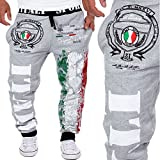 HHei_K Mens Trendy Drawstring Elastic Waist Digital Printing Loose Sports Hip-pop Pants Sweatpants