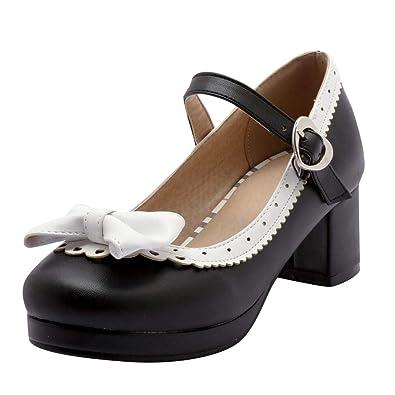 af4b64ae1f8b Vitalo Women s Mid Block Heel Lolita Mary Jane Shoes Ladies Platform Ankle  Strap Court Shoes Pumps