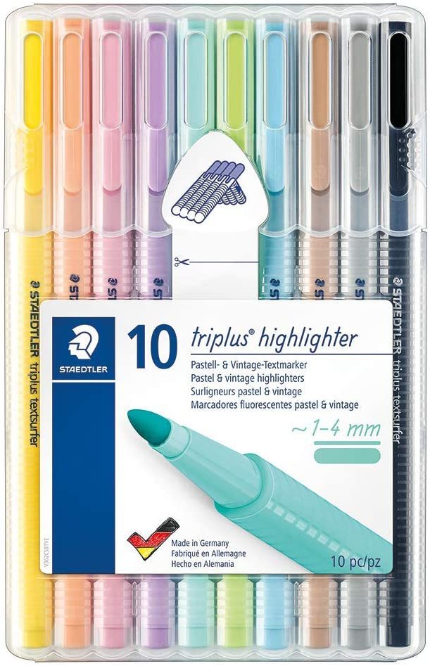 STAEDTLER 362 CSB10 ST, Marcador Fluorescente Triangular Delgado, Tamaño Único, Multicolor