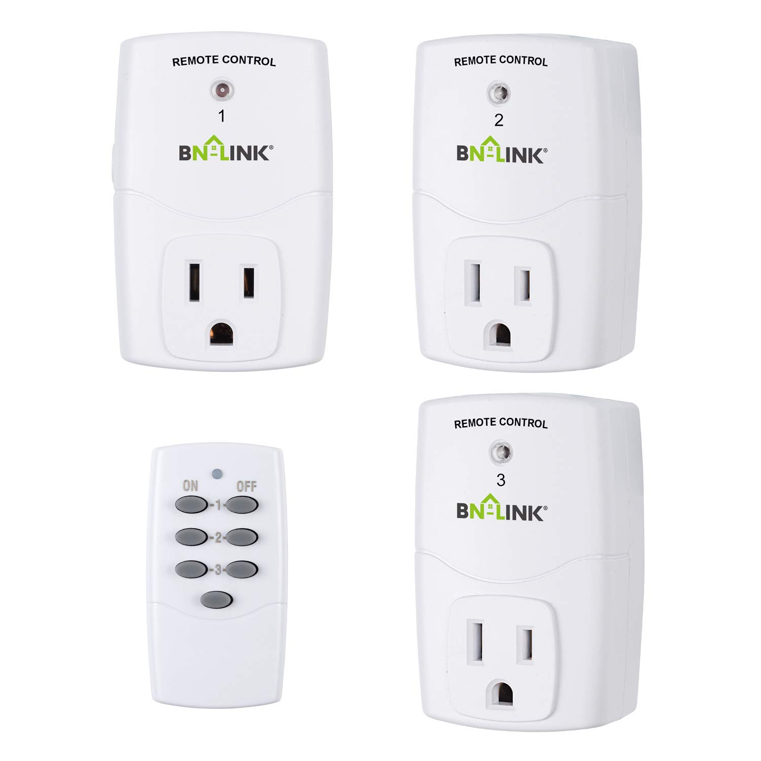 BN-LINK Mini Wireless Remote Control Outlet Switch Power Plug In for Household Appliances, Wireless Remote Light Switch, LED Light Bulbs, White (1 Remote + 3 Outlet) 1200W/10A by BN-LINK