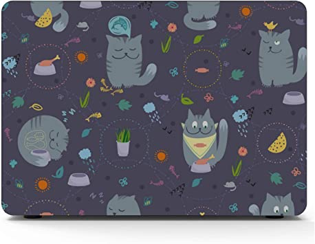 A1466 Case Cat Eating Fish Simple Plastic Hard Shell Compatible Mac Air 11 Pro 13 15 MacBook Accessories Case Protection for MacBook 2016-2019 Version