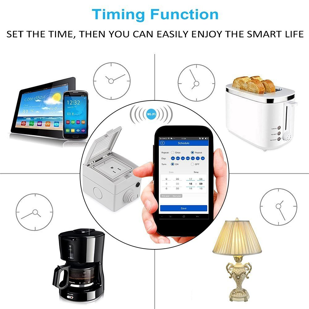 Coxtech Outdoor Wi-Fi Smart Plug Compatible with Alexa Echo Google Home IP55 Waterproof Smart Socket Wireless Outlet Plug-In On Off Timing Timer Setting Remote App Control Lighting by Smart Phone