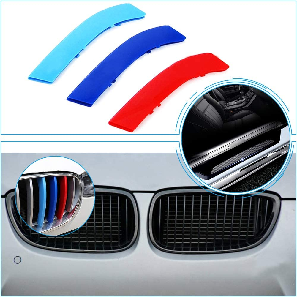 for 09-13 BMW 3 Series E92 E93 Coupe /& Convertible M 3D Grill Stripes Accessories and Door Sill Protect Sticker with Logo 7Pcs