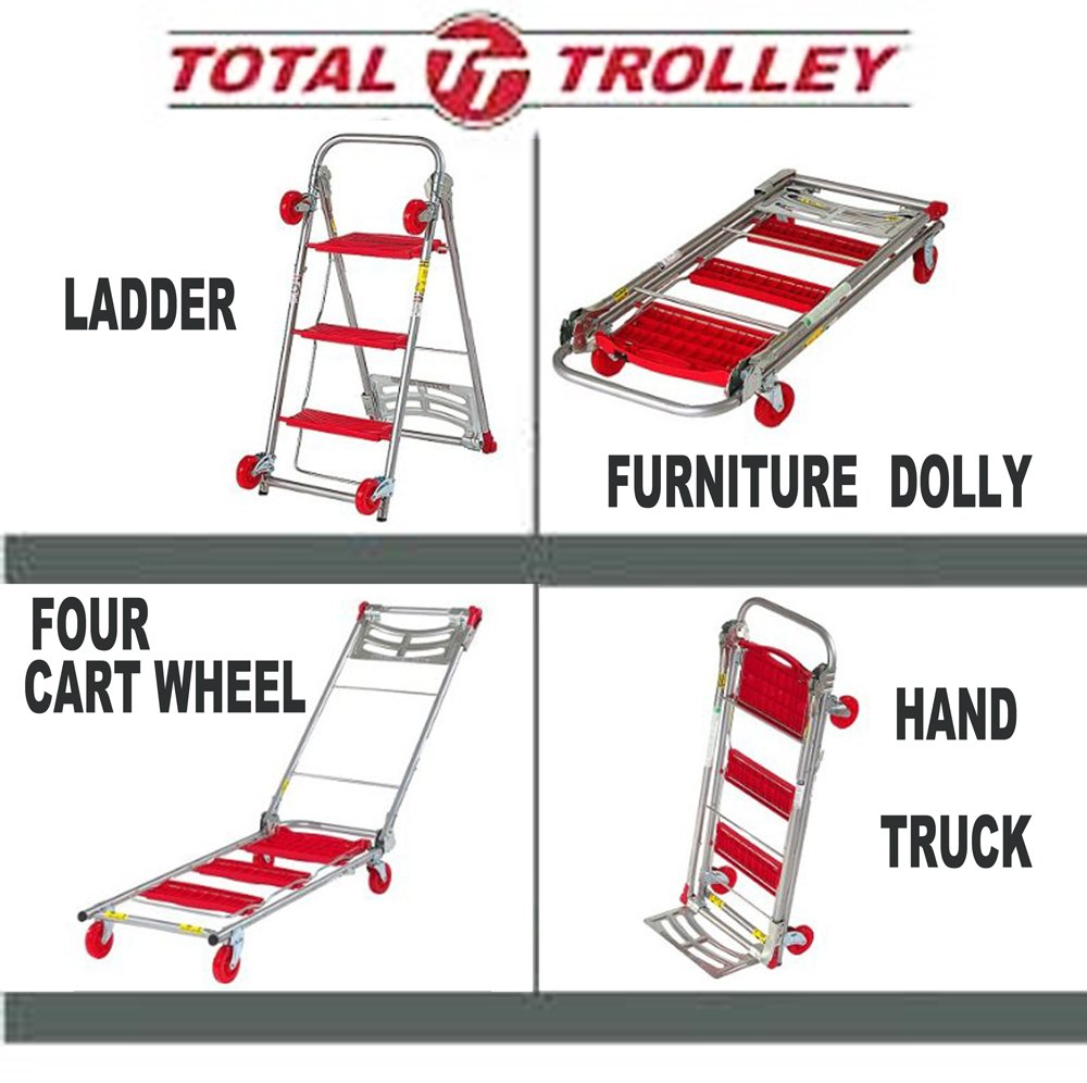 furniture trolley. total trolley 4 in 1 moving trolley, step ladder, hand truck, furniture dolly, carries up to 150 lbs. truck mode \u0026 800 i