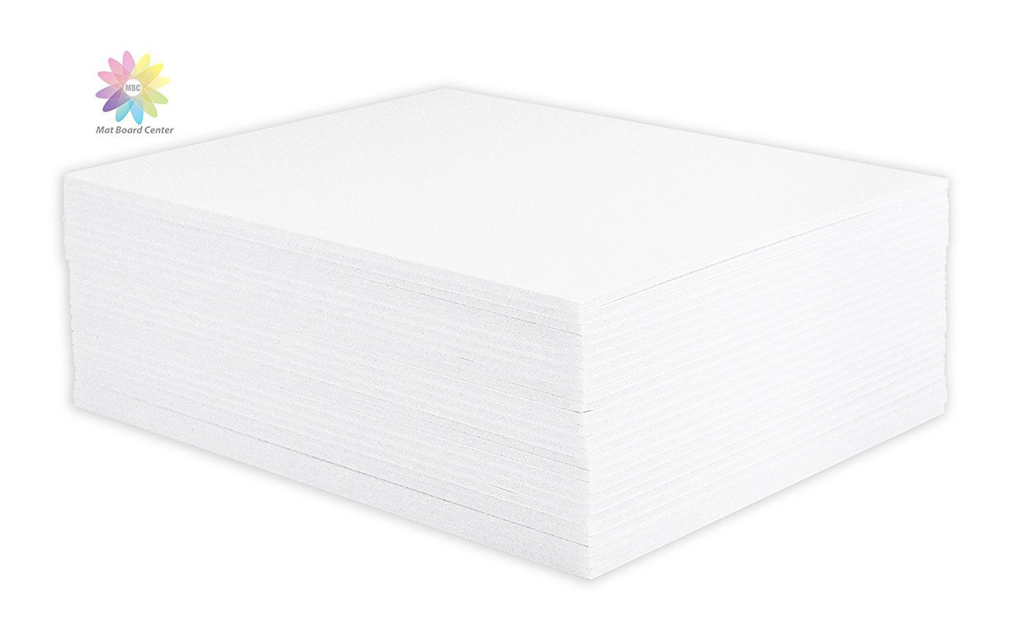 Mat Board Center, Pack of 25 Foam Core Backing Boards 1/8'' (20x24, White)