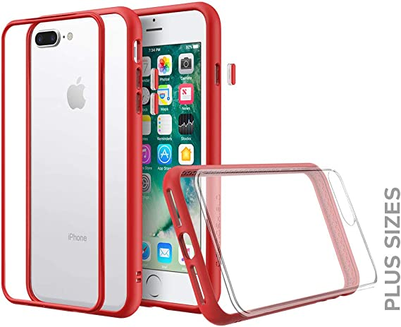 Amazon Com Rhinoshield Modular Case Compatible With Iphone 8 Plus 7 Plus Mod Nx Customizable Shock Absorbent Heavy Duty Protective Cover Shockproof Red Bumper With Clear Back