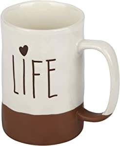 "Ceramic Mug,NEWANOVI American Farmhouse Style Porcelain Coffee Mug, with the Word ""LIFE"", Coffee Cup, Mug Cup, for Office and Home, A Loved Gift, 15 oz"
