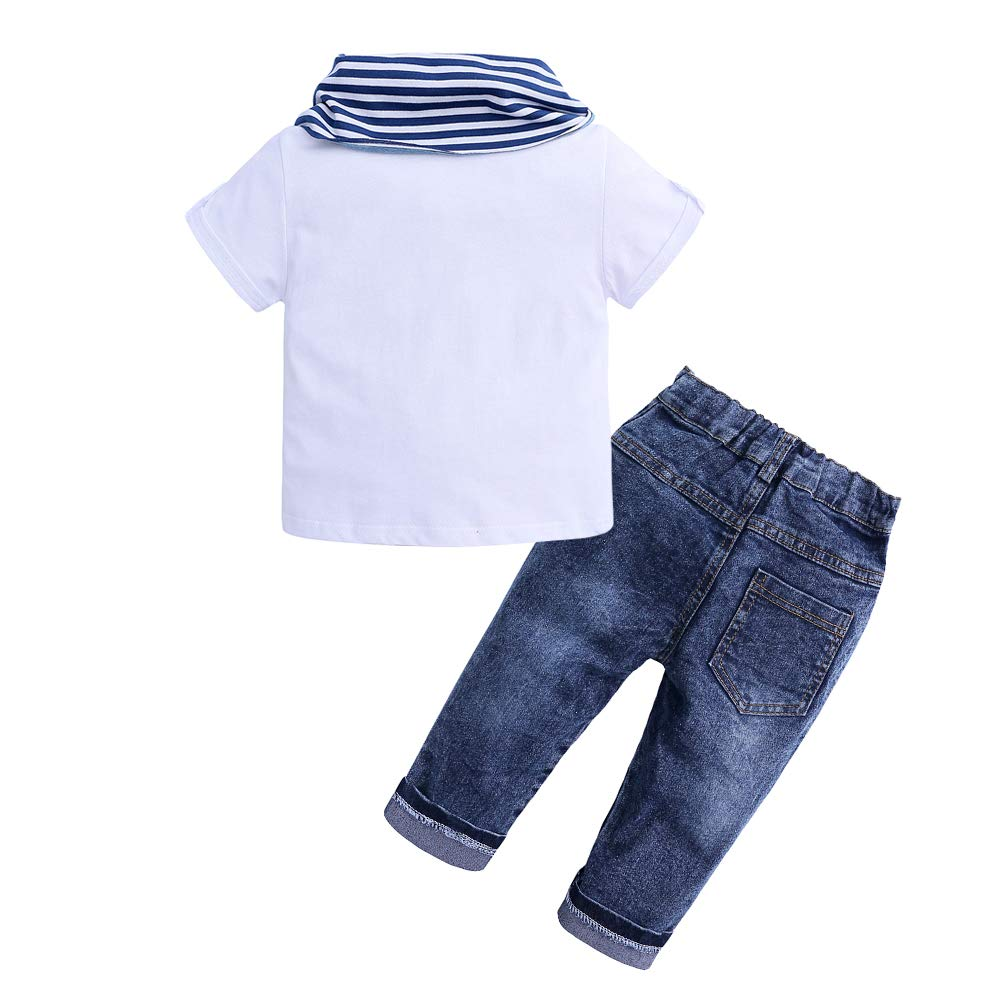 3pcs Summer Kids Baby Boys Short Sleeve White T-Shirt Tops+Scarf+Jeans