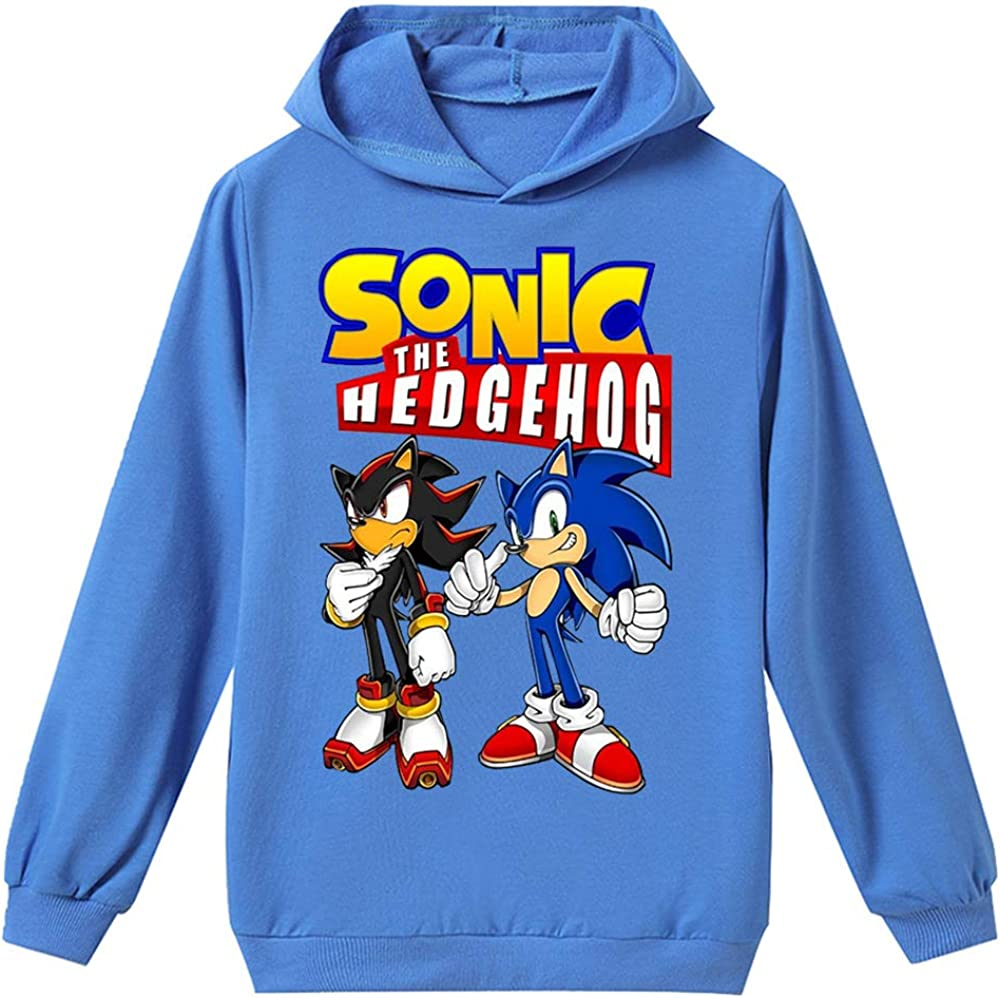 Sonic The Hedgehog Outwear Kids Comfortable Long Sleeve T-Shirt Hooded Pullover Multiple Colour Hoodie for Girls and Boys Sonic The Hedgehog Sweatshirt