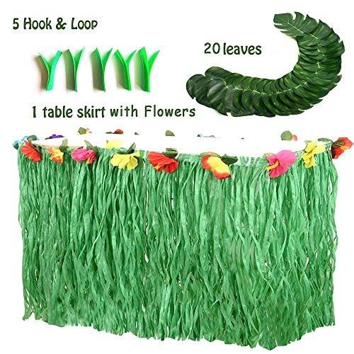 Hawaiian Luau Party Supplies-1 Pack Grass Table Skirt 9ft,20 Pcs Tropical Faux Palm Leaves5Pcs Adhesive Hook & Loop for Hula, Luau, Maui, Hawaiian, Moana Themed Party(26pcs) by COCOScent