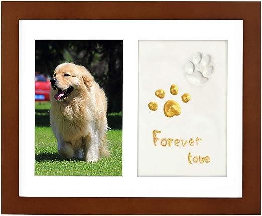 ONE WALL Marco de Fotos para Pared y de Sobremesa para Mascotas, Marcos de Fotos de Madera con Tampón de Arcilla para Huellas de Perros y Gatos, Decoración Conmemorativa para Hogar, Marrón: