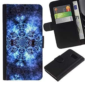 LASTONE PHONE CASE / Lujo Billetera de Cuero Caso del tirón Titular de la tarjeta Flip Carcasa Funda para Samsung Galaxy S6 SM-G920 / Pattern Wallpaper Lace Universe Cosmos Blue