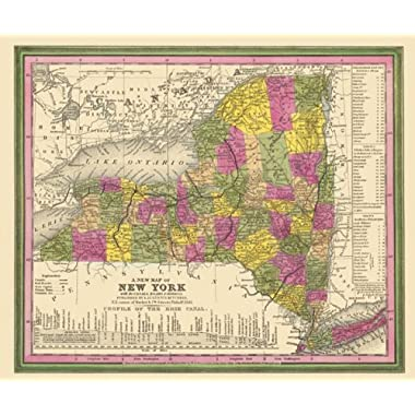 Old State Maps - STATE OF NEW YORK (NY) BY AUGUSTUS MITCHELL 1846 MAP - Glossy Satin Paper