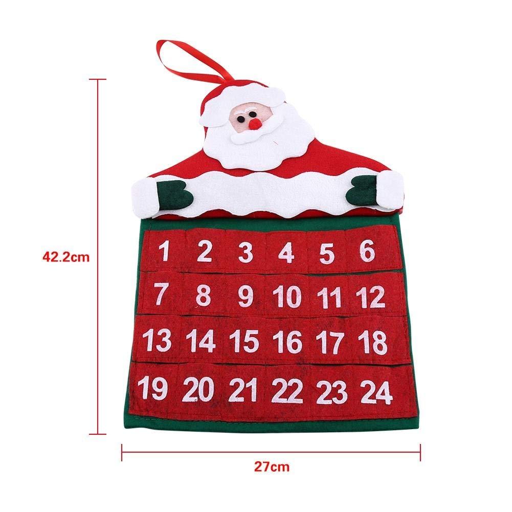 Xmas Decorazione del Tessuto Tasche Buon Natale Babbo Natale Padre Advent Calendar Countdown Ornament Babbo Natale Calendario